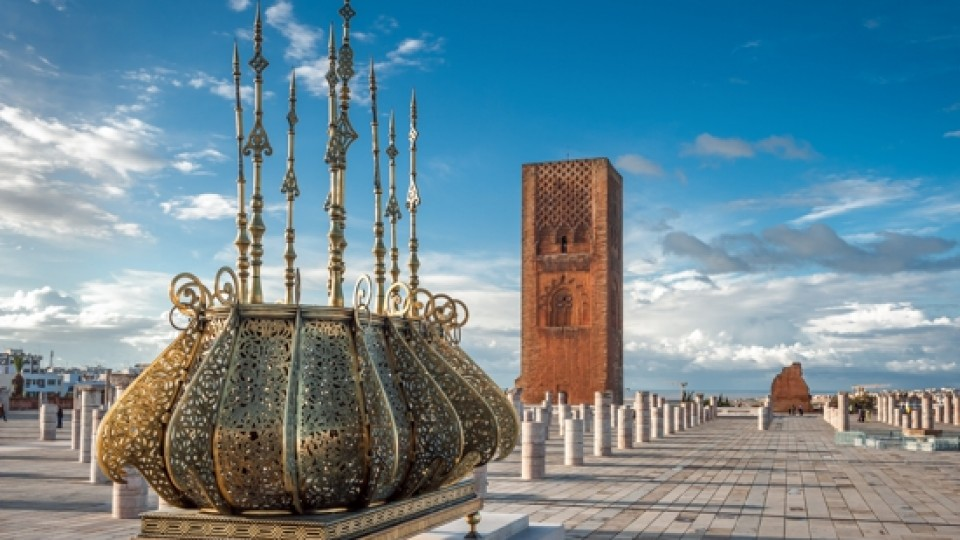 Tour Hassan tower golden decorations Rabat Morocco 43905175