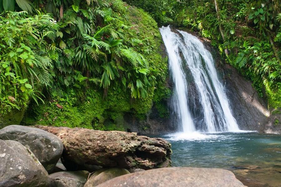 Una cascata nella zona Basse Terre a Guadalupa