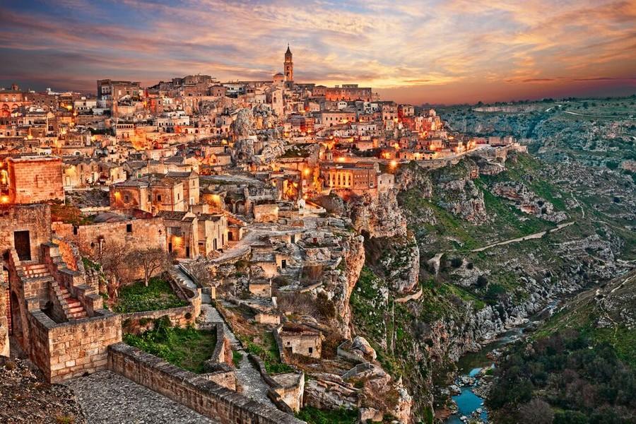 Panorama di Matera al tramonto