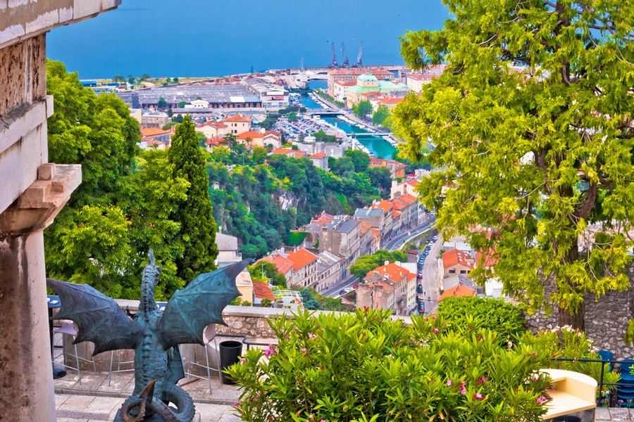Vista sulla città di Fiume da Trsat