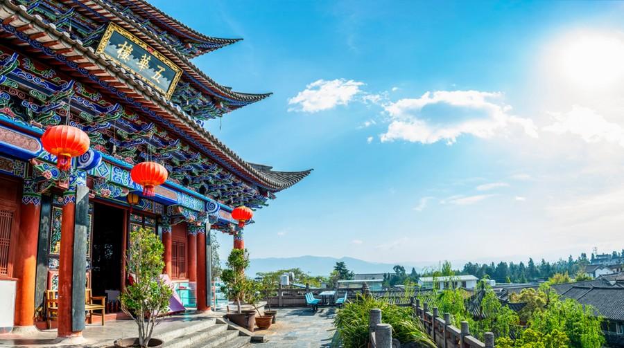 Wuhua Tower a Dali, regione dello Yunnan in Cina