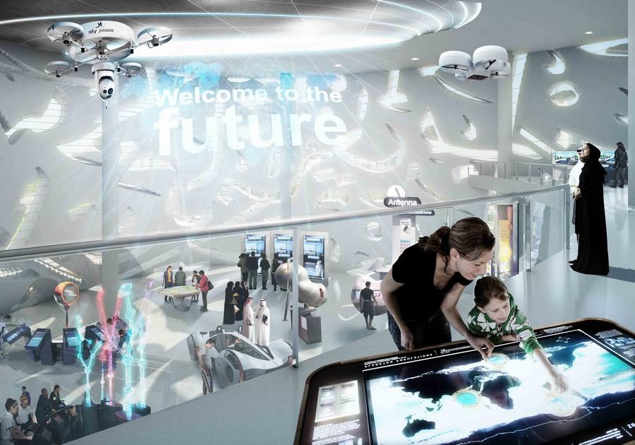Un'area del Museo del Futuro di Dubai