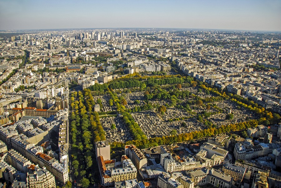 Cimitero di Passy a Parigi, vista aerea