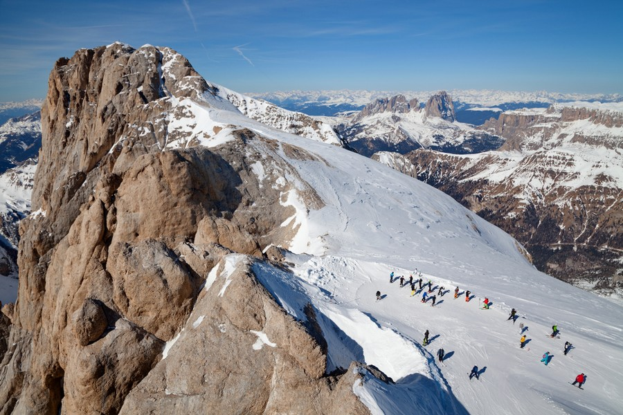 Snowboard sulla Marmolada